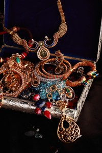 Treasure Chest Full of Gold and Silver Jewelry